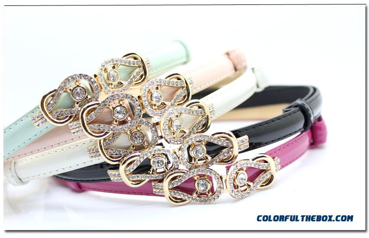 Rhinestone Buckle Candy Colored Patent Genuine Leather Thin Belt Ladies Women Accessories - more images 3
