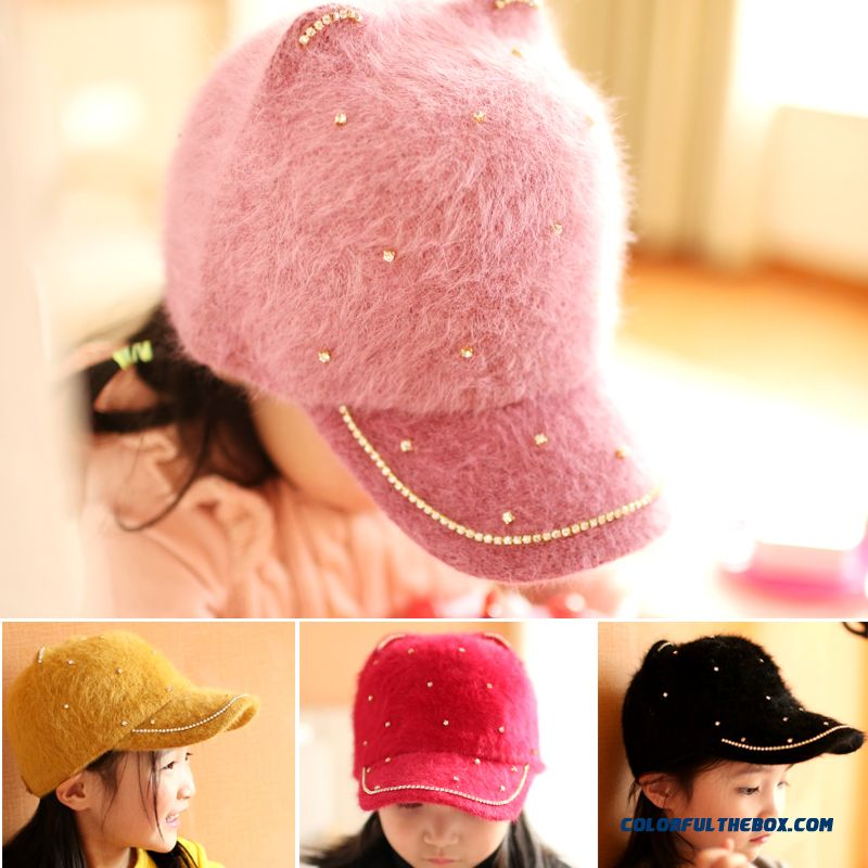 Rhinestone Rabbit Ears Top Hat Kids Hats Girls Peaked Cap Fall Winter Baseball Cap Assessories 2016