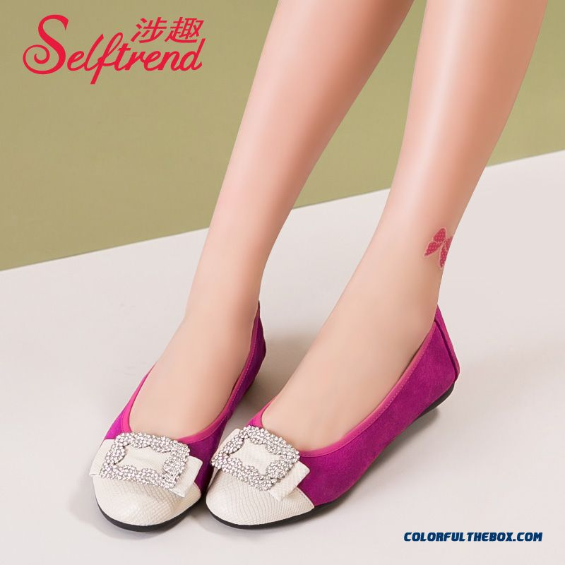 Rhinestones Square Buckle Spell Color Genuine Leather Soft Bottom Women Flat Shoes