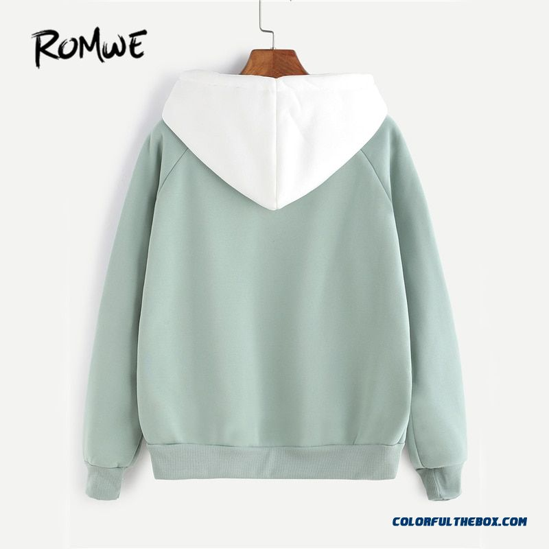 Romwe Pale Green Patchwork Hoodie Women Raglan Long Sleeve Cute Contrast Hooded Sweatshirt Fall Pocket Drawstring Hoodies - more images 1