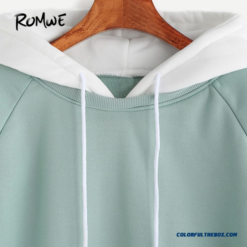 Romwe Pale Green Patchwork Hoodie Women Raglan Long Sleeve Cute Contrast Hooded Sweatshirt Fall Pocket Drawstring Hoodies - more images 2