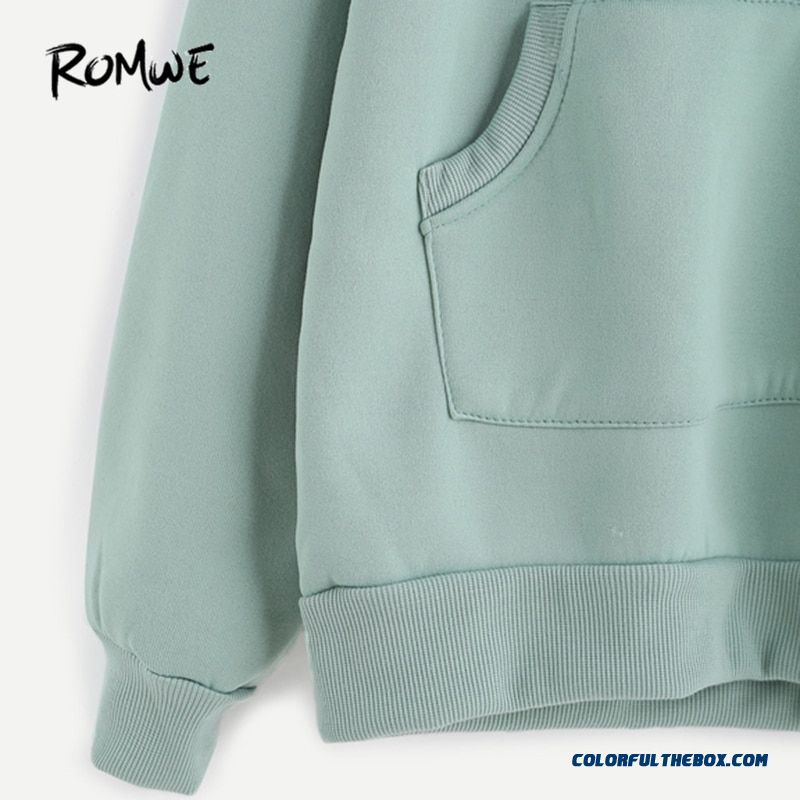 Romwe Pale Green Patchwork Hoodie Women Raglan Long Sleeve Cute Contrast Hooded Sweatshirt Fall Pocket Drawstring Hoodies - more images 3