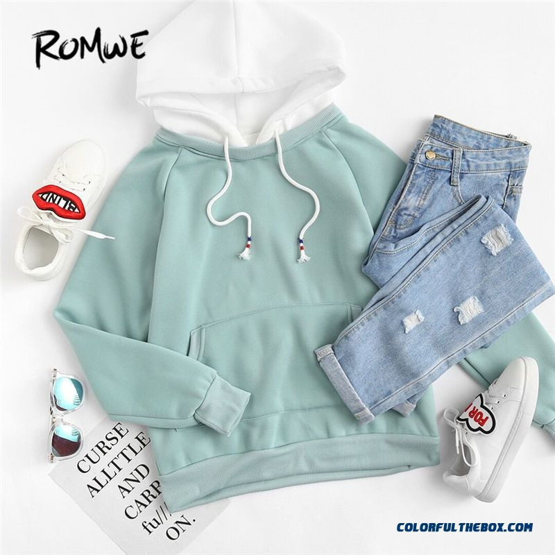 Romwe Pale Green Patchwork Hoodie Women Raglan Long Sleeve Cute Contrast Hooded Sweatshirt Fall Pocket Drawstring Hoodies - more images 4