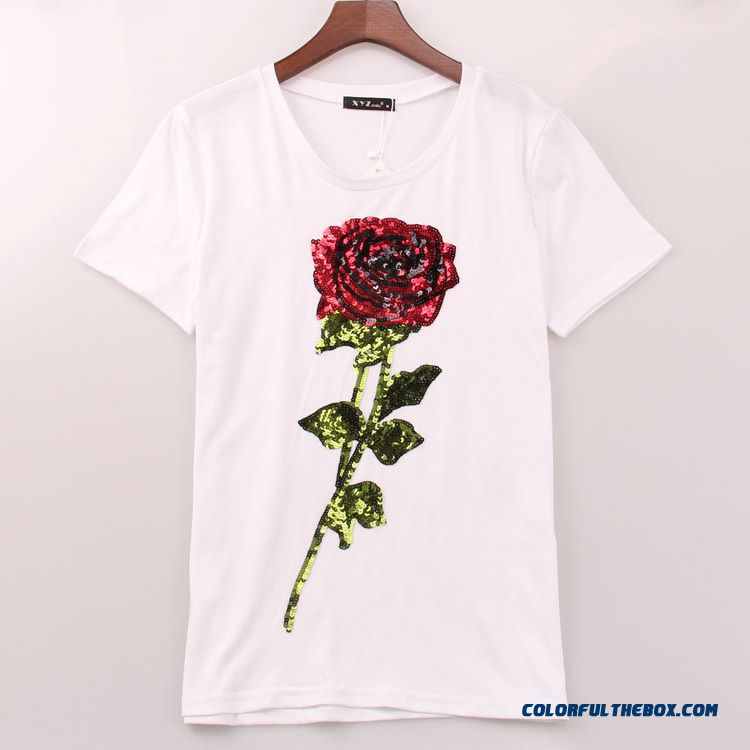 Rose Sequin Embroidery Round Neck Short Sleeve T-shirt Women's Clothing