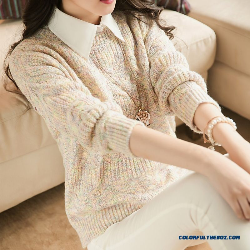 Round Neck Women Sweater Pull Blouson Bottoming Shirt Coat Jacket