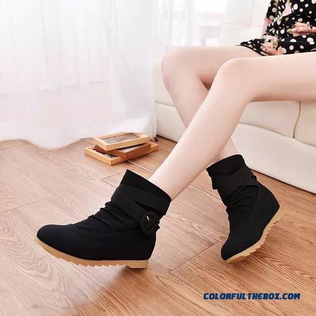 Round-toe Elevator Shoes Inside Boots Women's Boots Casual Belt Buckle Large Size