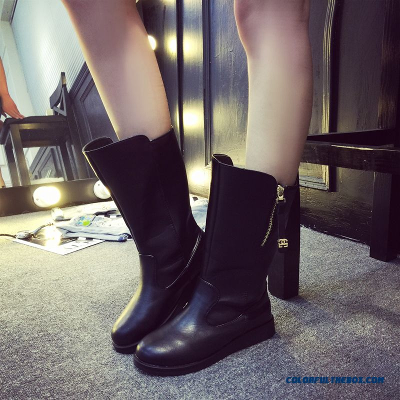 Round-toe Flat Cotton Velvet Wedge Heel Thick Bottom Leather Boots Fashion Women