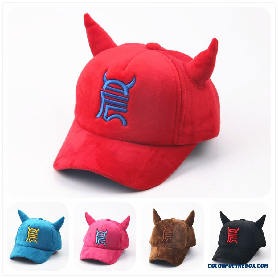 Running Man Big Black Bull Baseball Plus Velvet Horns Warm Parent-child Design Peaked Cap Boys Wummer Accessories