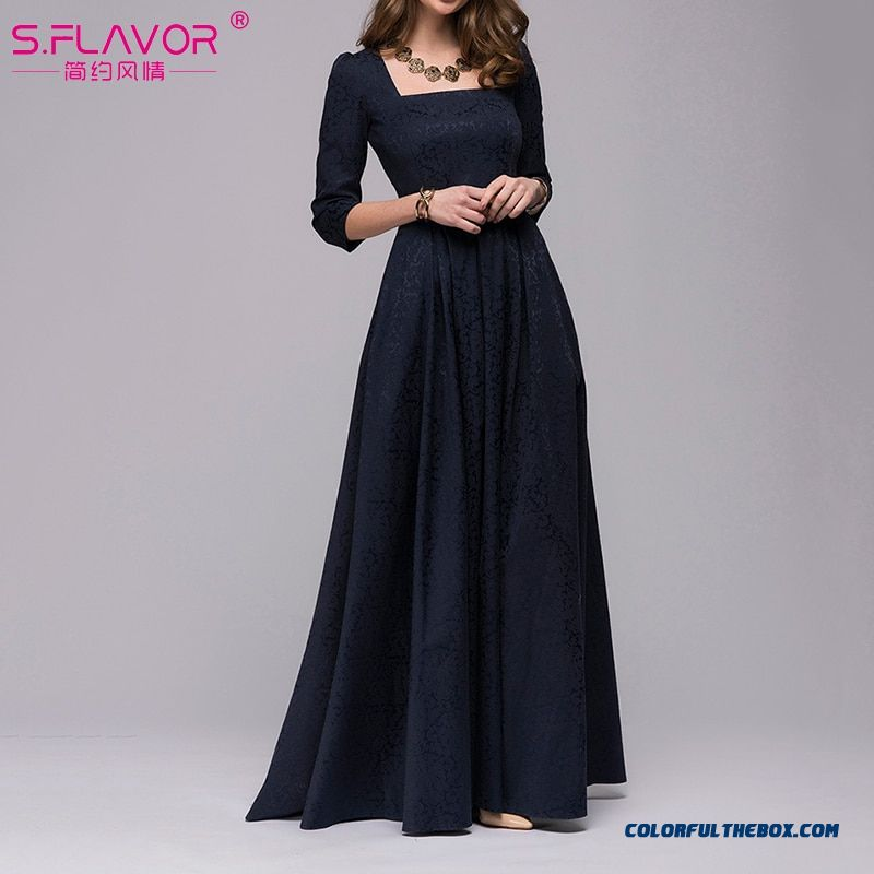 S.flavor Women Vintage Square Collar Long Dress New Elegant Solid Color 3/4 Sleeve Party Vestidos Casual Spring Autumn Dress