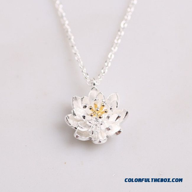 S925 Sterling Silver Jewelry Handmade Golden Lotus Flower Core Fine Jewelry Pendant Women