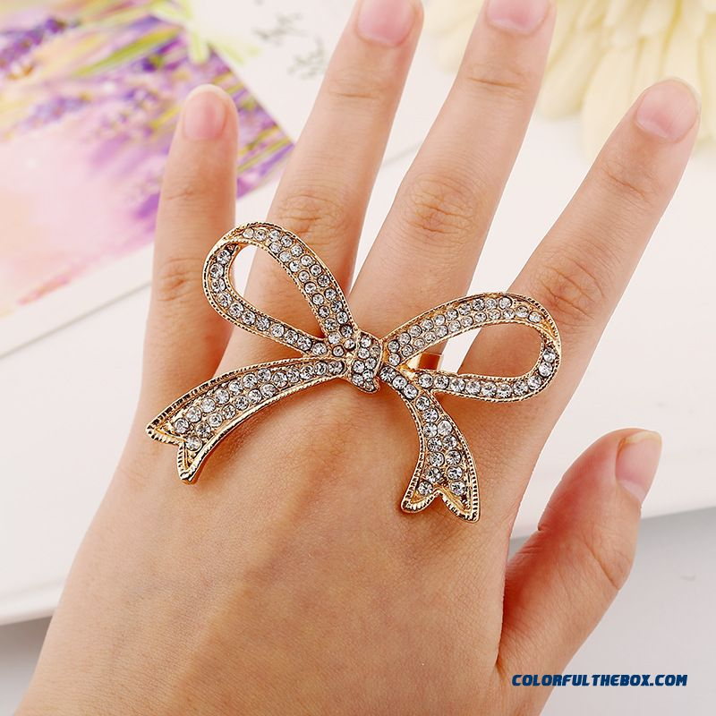 Sales Genuine Jewelry Exaggerated Personality Full Of Diamond Bowknot Opening Women Favorite Rings
