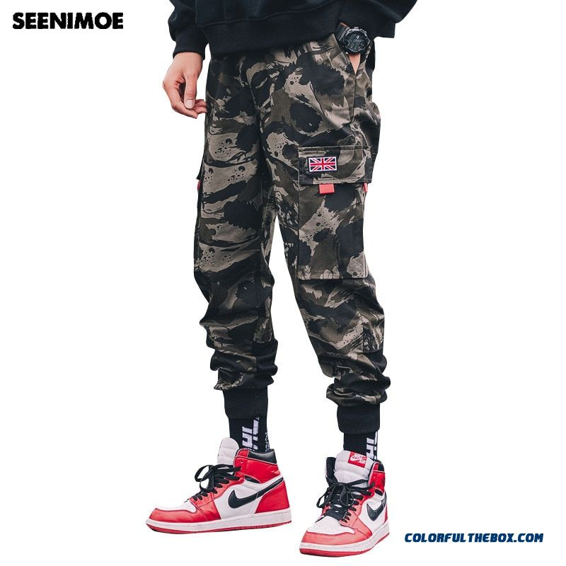 Seenimoe 2019 Spring Mens Camouflage Joggers Pants Men Cotton Cargo Pants Hip Hop Streetwear Trousers Big Pockets Harem Pants