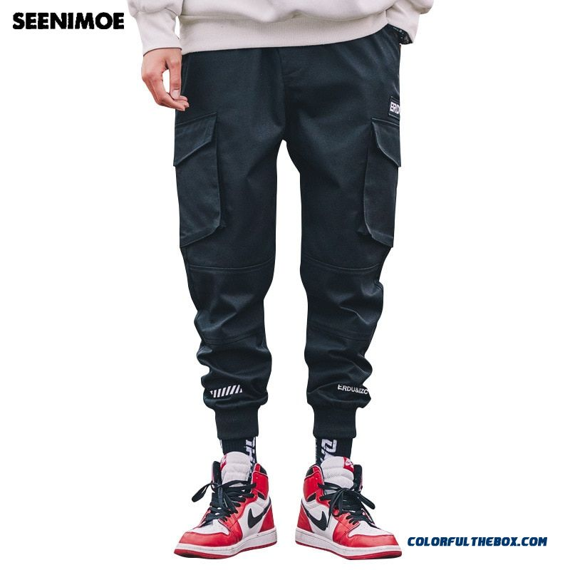 Seenimoe 2019 Spring Mens Harem Pants Men Cotton Cargo Pants Hip Hop Streetwear Trousers Big Pockets Joggers Pants