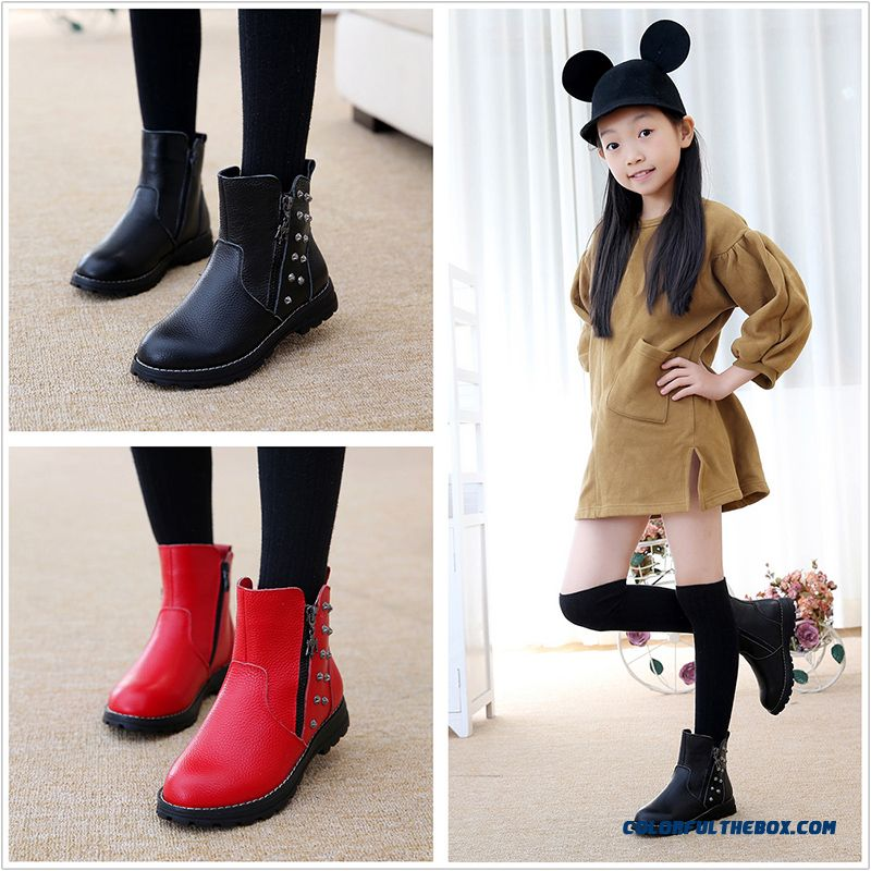 Selected High-quality Fabrics Girls Martin Boots Genuine Leather Boots Cotton Children Kids Essential Shoes