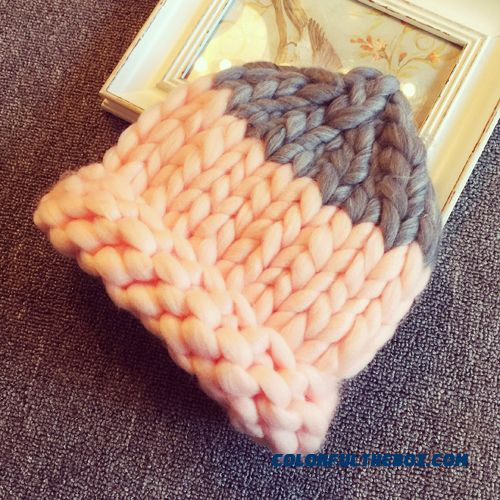 Seoul Synchronous Kids Thick Needle Wool Cap Spell Color Knit Cap Hat Pointy Nipple Cap For Girls
