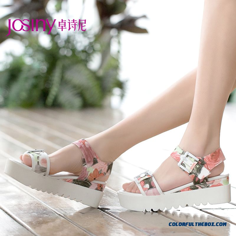 Sexy Open-toed Sandals Women Summer New Buckle Thick Bottom Middle-heels
