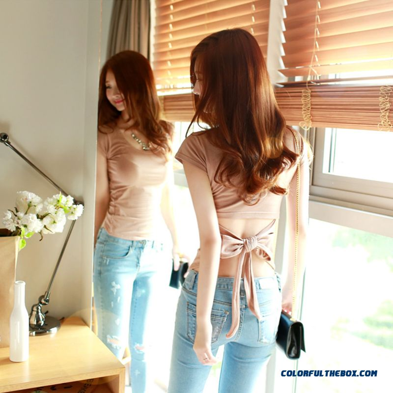 Sexy Women Short-sleeved T-shirt Lace Bow-tie Halter Waist Thin