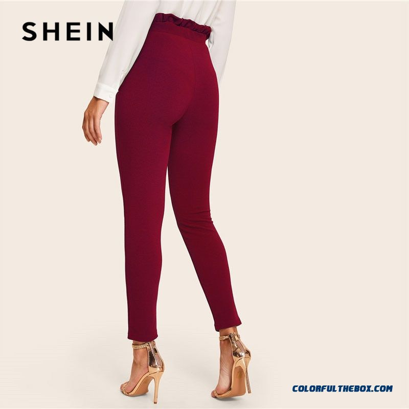 Shein Burgundy Casual Frill Trim Bow Belted Detail Solid High Waist Pants Women Fashion Clothing Elastic Waist Carrot Pants - more images 1