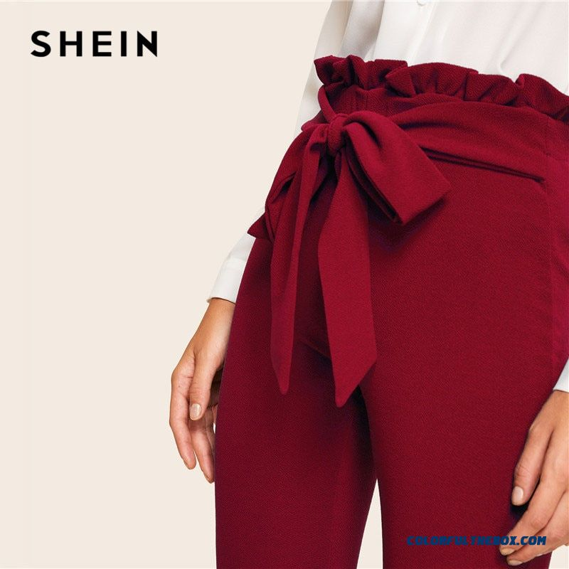 Shein Burgundy Casual Frill Trim Bow Belted Detail Solid High Waist Pants Women Fashion Clothing Elastic Waist Carrot Pants - more images 2