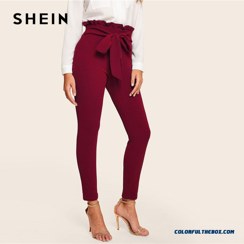 Shein Burgundy Casual Frill Trim Bow Belted Detail Solid High Waist Pants Women Fashion Clothing Elastic Waist Carrot Pants - more images 3