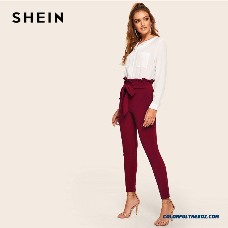 Shein Burgundy Casual Frill Trim Bow Belted Detail Solid High Waist Pants Women Fashion Clothing Elastic Waist Carrot Pants - more images 4