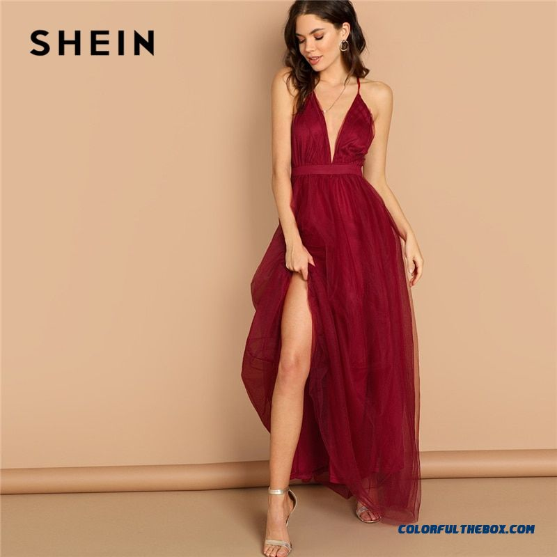 d42832b823 ... Lady Women Party Dresses. Shein Burgundy Plunging Neck Crisscross Back  Cami Dress Maxi Plain Sexy Night Out Dress Autumn Modern