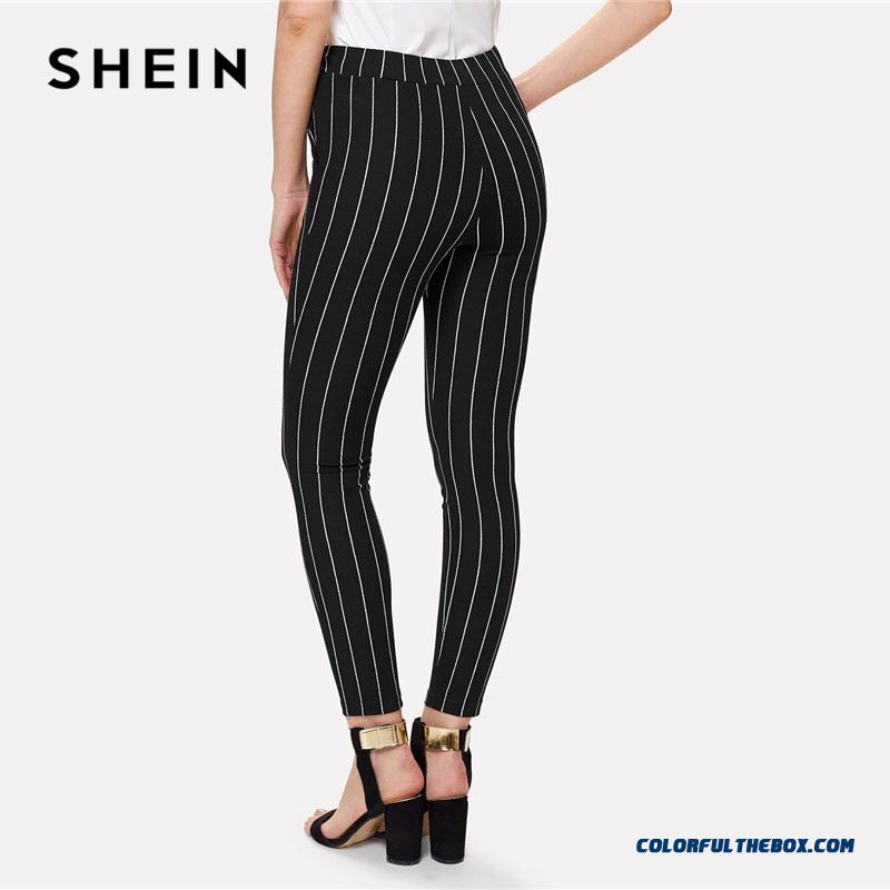 Shein Office Vertical Striped Skinny Pants Women Elastic Waist Belted Bow Tapered Trousers Spring New Elegant Workwear Pants - more images 1
