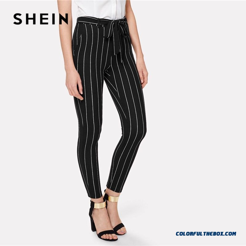 Shein Office Vertical Striped Skinny Pants Women Elastic Waist Belted Bow Tapered Trousers Spring New Elegant Workwear Pants - more images 2