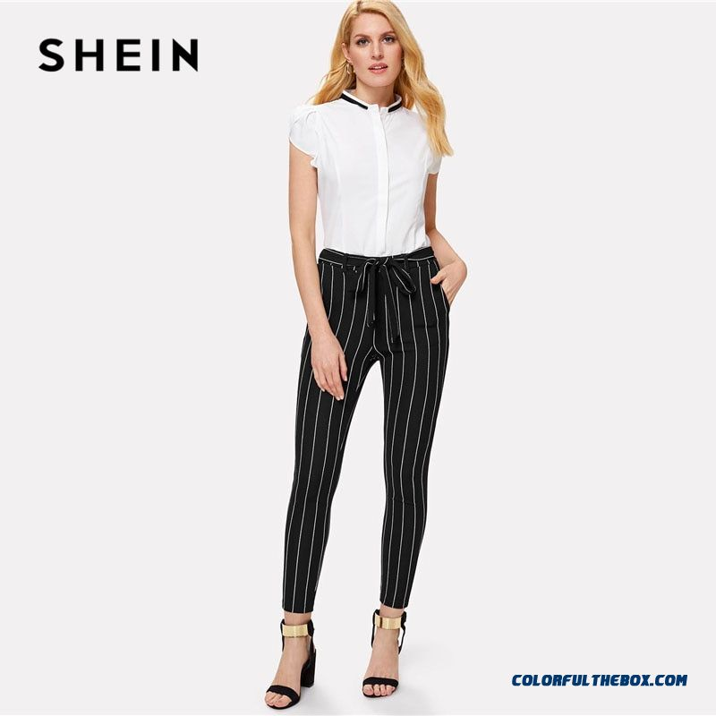 Shein Office Vertical Striped Skinny Pants Women Elastic Waist Belted Bow Tapered Trousers Spring New Elegant Workwear Pants - more images 4