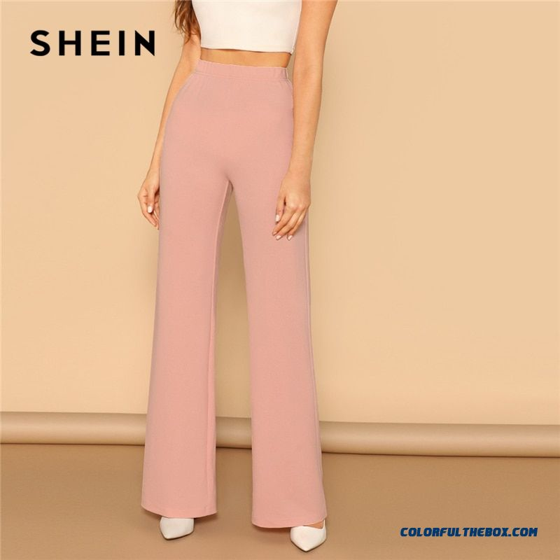 Shein Pink Elastic High Waist Straight Leg Solid Long Pants Women Trousers Office Lady Spring Elegant Workwear Wide Leg Pants