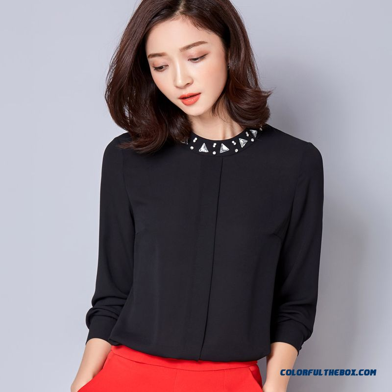 Shining Beading Multi-color Avaliable Diamond Fashion Casual Round Neck Chiffon Shirt Wome Blouses