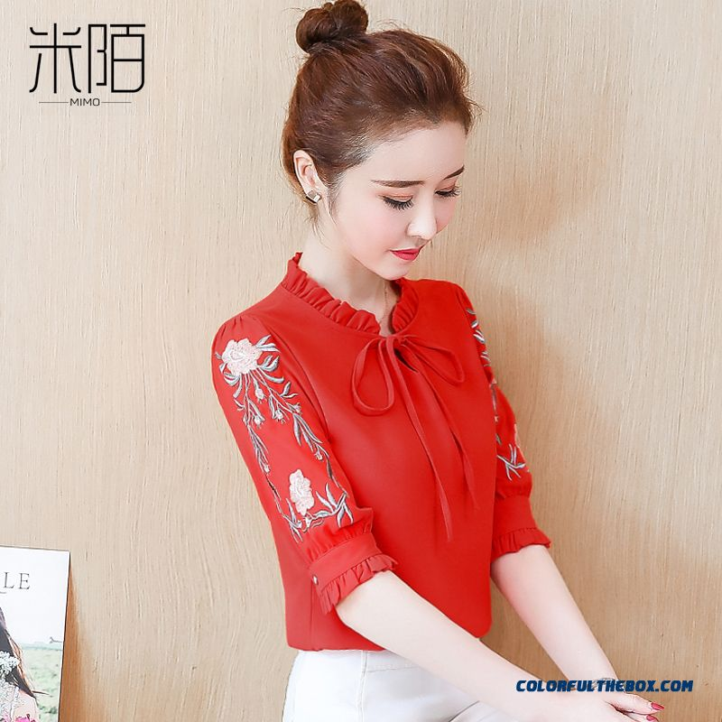 Shirt 2019 Red Short Sleeve New Chiffon Temperament Women's Lady Fashion Trend Coat Summer