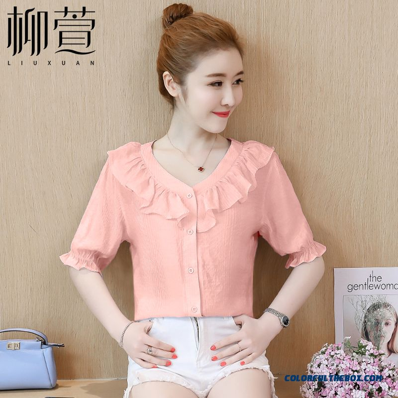 Shirt Coat Short Sleeve Pink Fashion Thin Trend 2019 Women's Temperament New Chiffon Summer