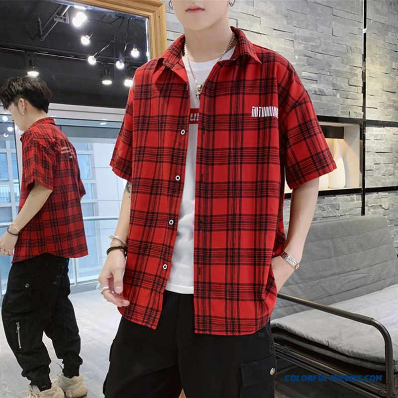 Shirt Men's Leisure Summer Loose Coat Short Sleeve Checks Trend Red Skinny Europe