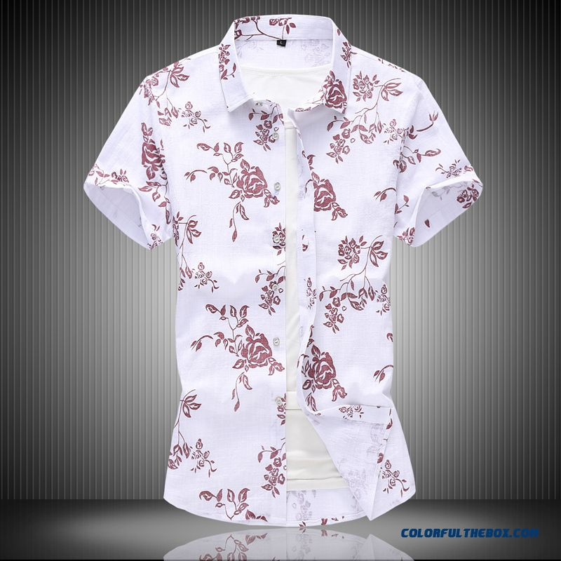 Shirt Summer Short Sleeve Flower Cotton Large Size Trend Leisure Half Sleeve Men's Red