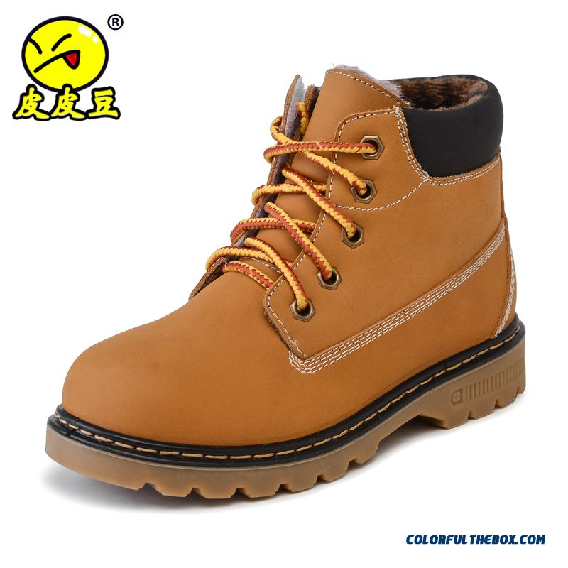 Shoes For Boys Kids Cowhide Yellow Shoes Middle Boots Single Shoes