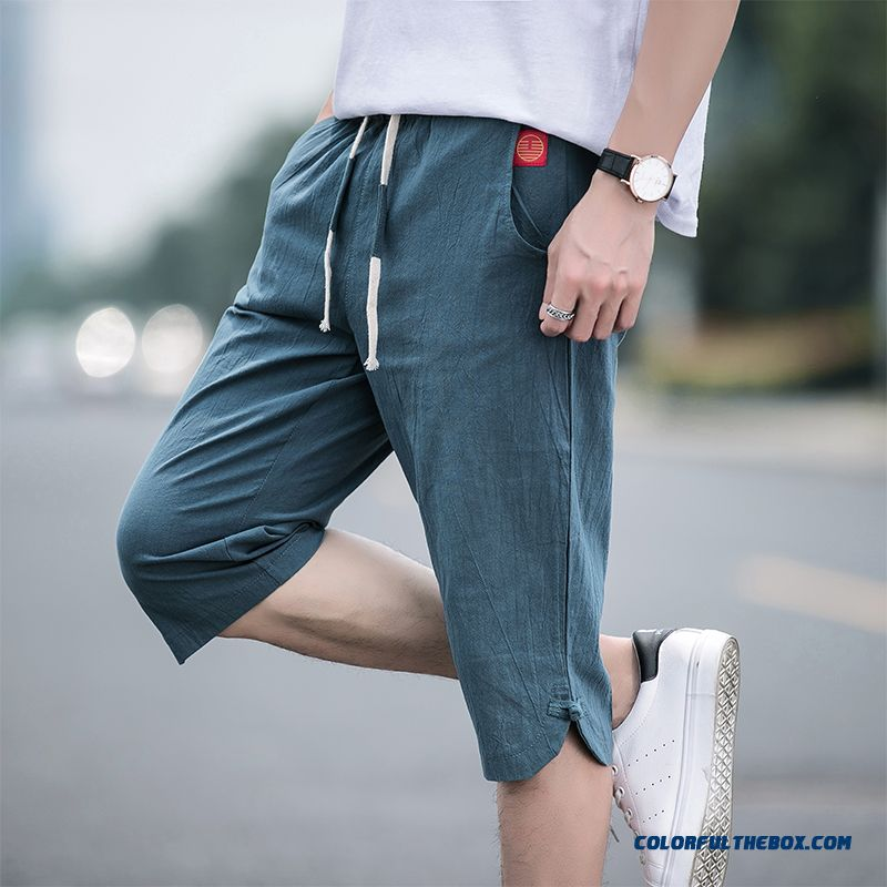 Short Pants Cropped Trousers Shorts Skinny Green Cotton Chinese Style Men's Leisure Europe Loose Trend Summer