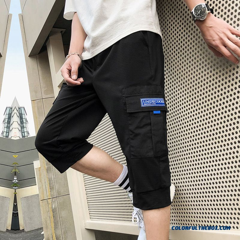 Short Pants Trend Loose Sport Tooling Beach Men's Leisure Summer Black Europe Skinny