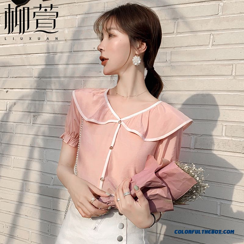 Short Sleeve 2019 Sweet New Chiffon Fresh Pink Women's Ultra Summer Shirt Coat Thin