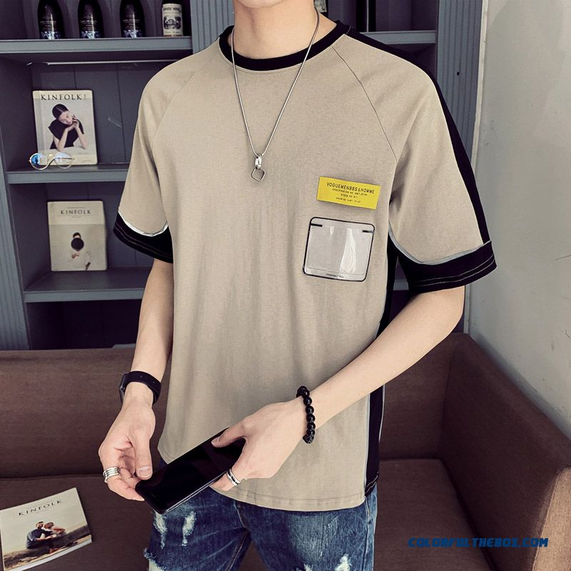 Short Sleeve Men's Half Sleeve Personality Summer Trend Student 2019 Europe T-shirt Bottoming Shirt Khaki New