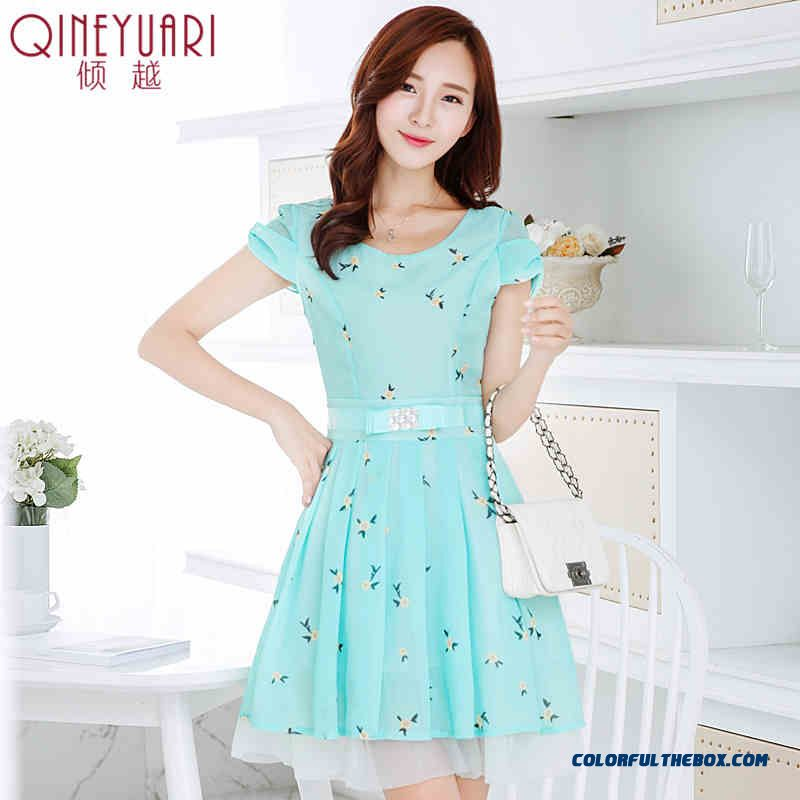 Short-sleeved Floral Chiffon Dress Summer New Slim Medium-long Women Fashion Print