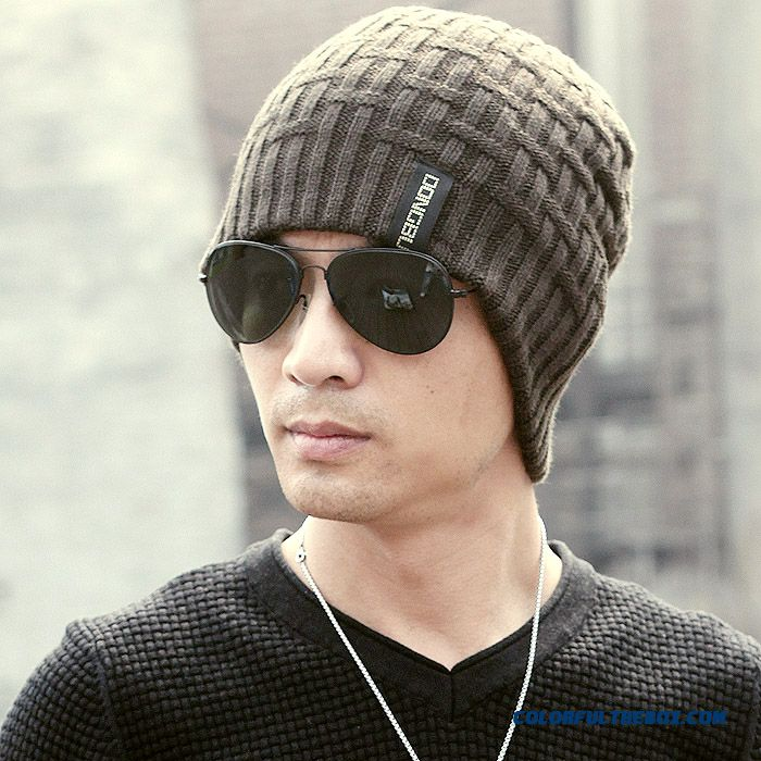 12240edbfd5 ... Simple And Stylish Straw Jacquard Pattern Texture Men's Accessories  Wool Hats Ski Hat