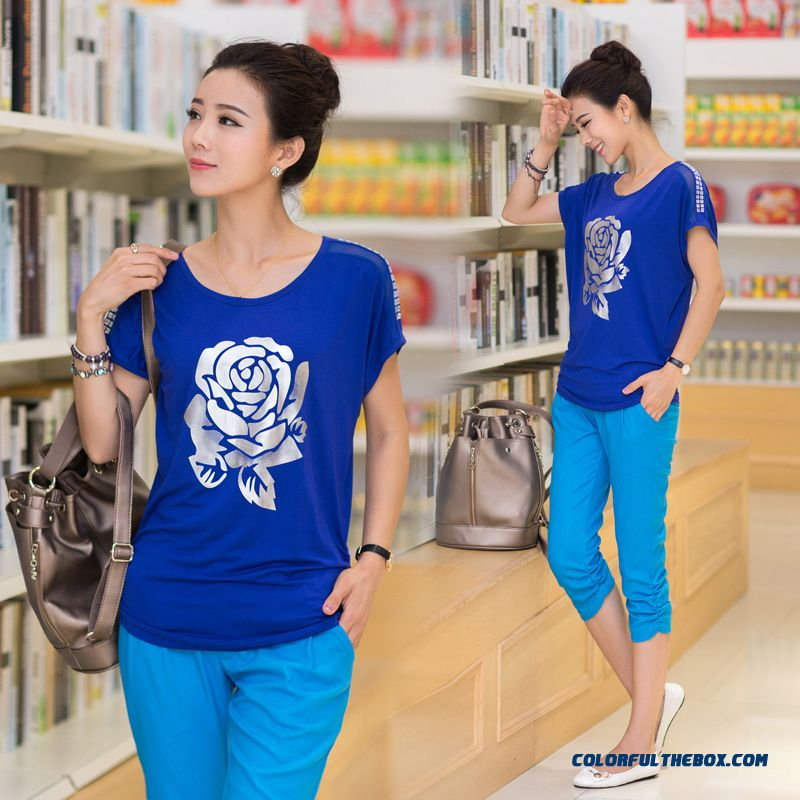 Simple Collar Rose Print Women Summer T-shirt Free Shipping