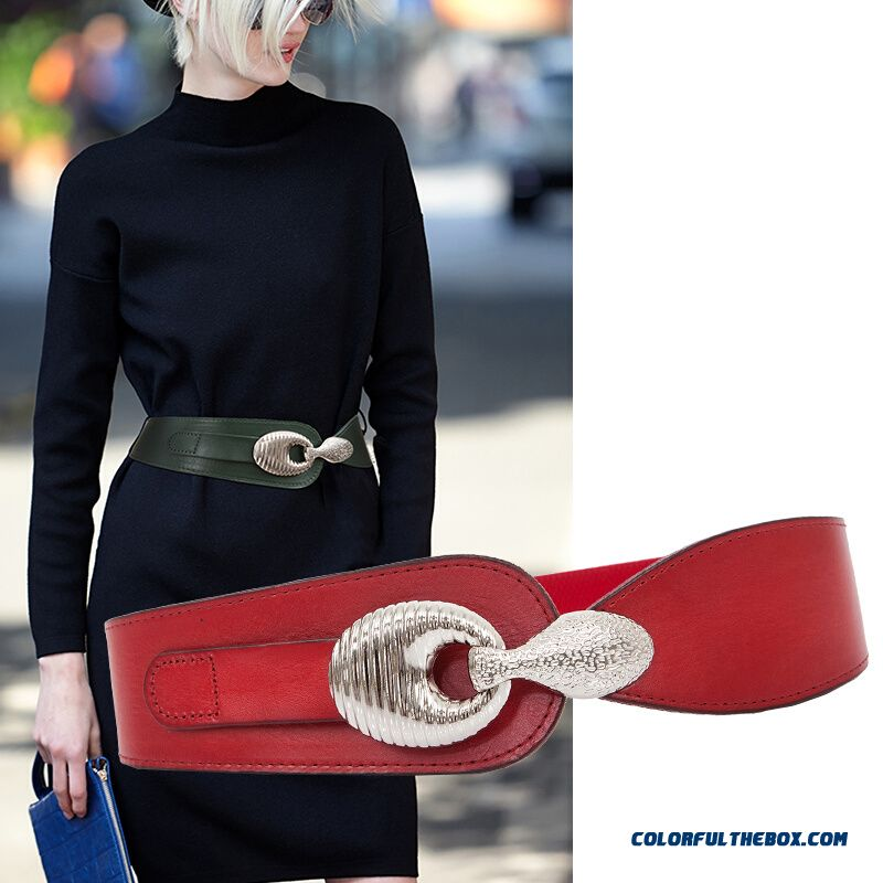 Simple Ladies Wide Belt Genuine Leather Dresses Decorated Cummerbun Stretch Elastic Belt All-match Women Accessories