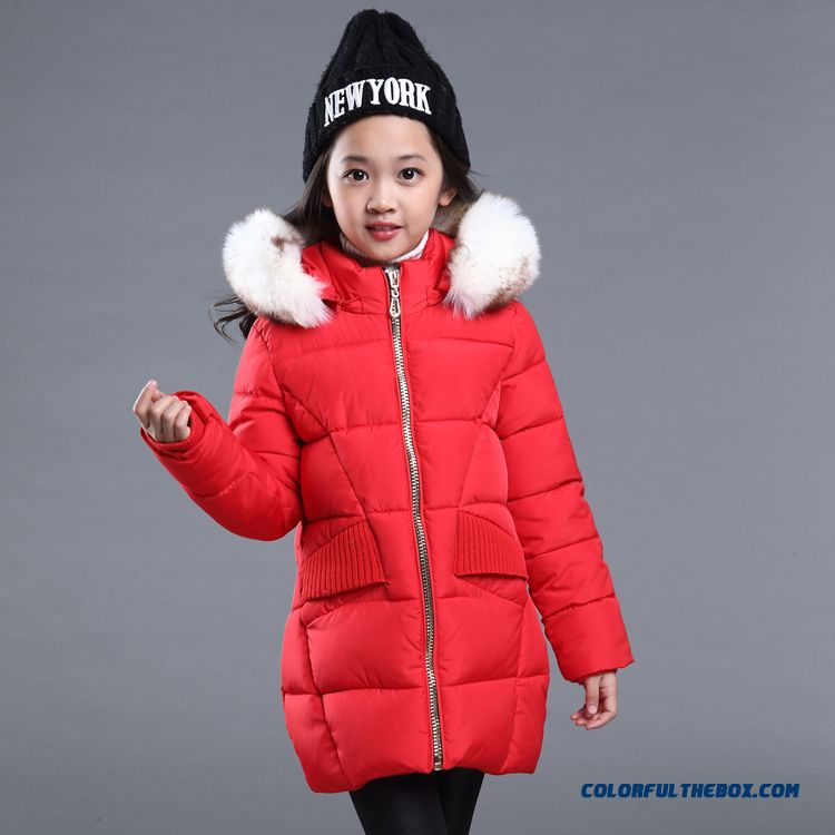Simple Long Zipper Design For Girls Kids Wihte Nagymaros Collar Red Clothing