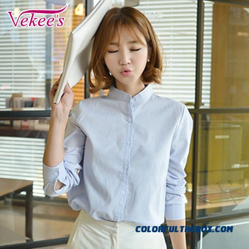 Simple Loose And Thin Solid Color Stand Collar Long-sleeved Cotton Women Shirt Casual Blouses