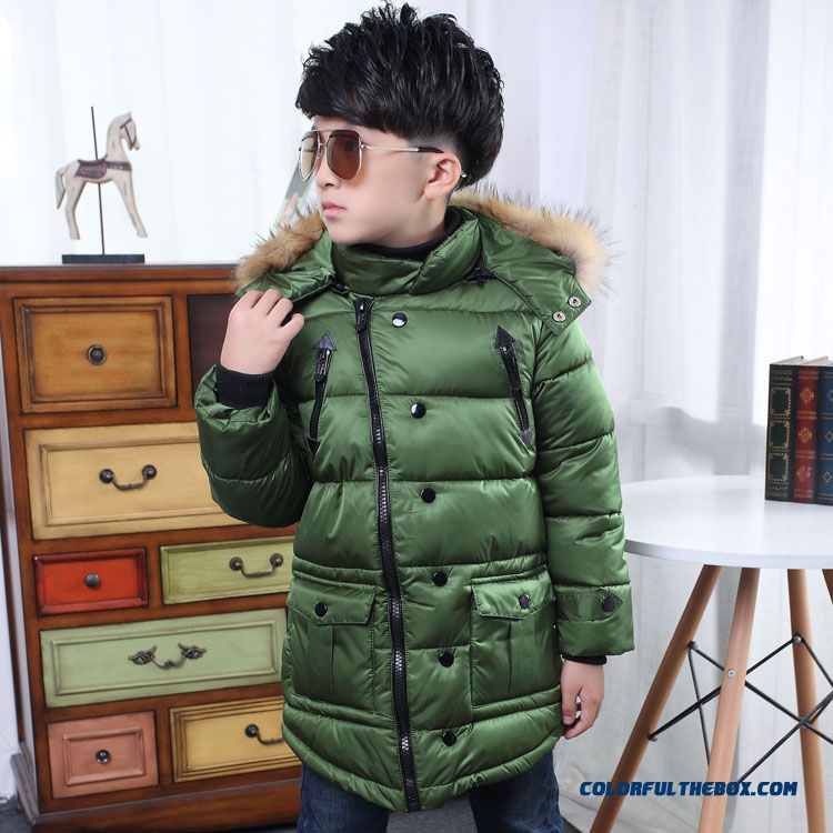 Simple Solid Color 6 Years Old Boys Kids Clothing Winter Coats Green With Nagymaros Collar