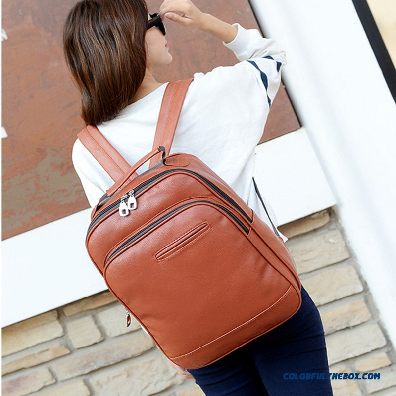 Simple Zipper With Double Sliders Schoolbags Casual Pu Backpacks For Women
