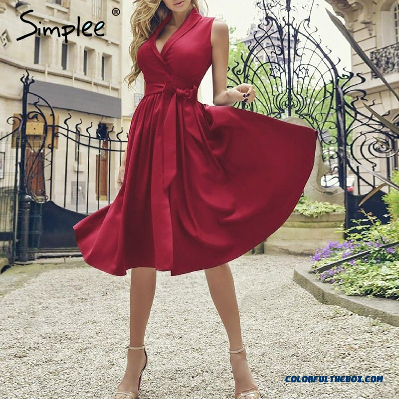 Simplee Vintage Sleeveless Women Dress Summer V Neck Sashes Long Plus Size Dress Festa Elegant Red Linen Female Party Dress 2019