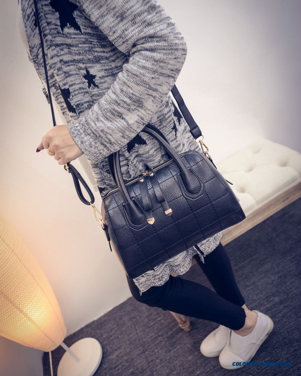 Simplicity Retro Women Bag With Double Zipper Shoulder Bags Chic - more images 2